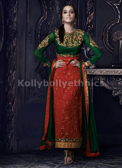 Shraddha Kapoor Red and Green salwar kameez