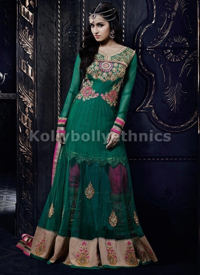 Shraddha Kapoor Green and pink anarkali