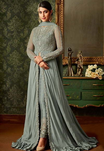 blue shade rangoli embroidered floor length designer suit 7102