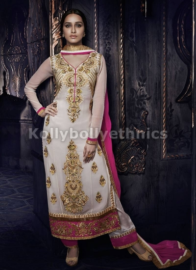 Shraddha Kapoor white and pink straight cut salwar kameez