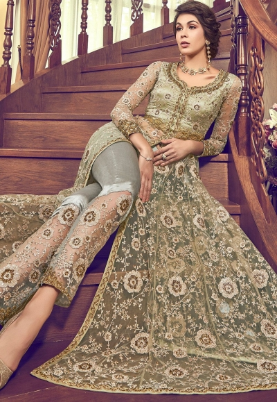 teal green net heavy embroidered trouser style pakistani suit 6003