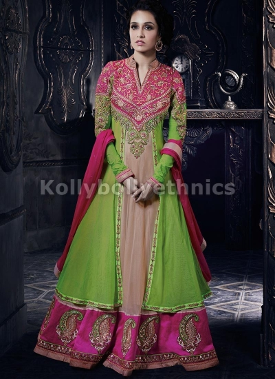 Shraddha Kapoor Light green and pink suit