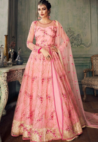 baby pink heavy net embroidered lehenga style anarkali suit 8217