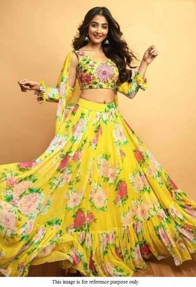 Bollywood Pooja Hegde yellow georgette frill lehenga