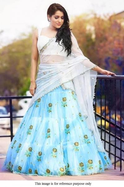 Bollywood model inspired sky blue net lehenga choli
