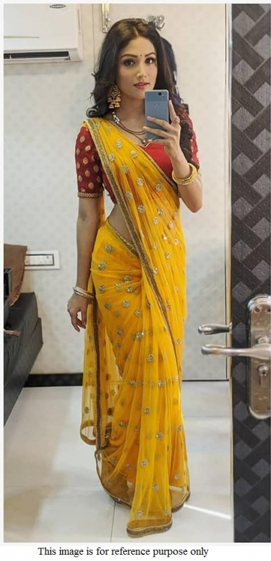 Bollywood model yellow and red georgette deisgner saree