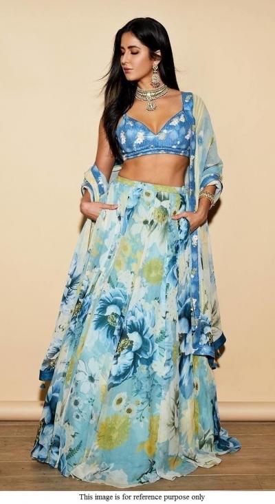 Bollywood Katrina Kaif blue floral crepe lehenga choli