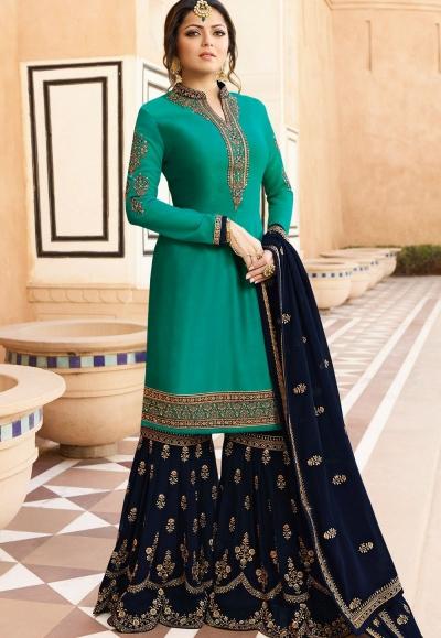 drashti dhami sky blue satin georgette embroidered sharara style suit 3609