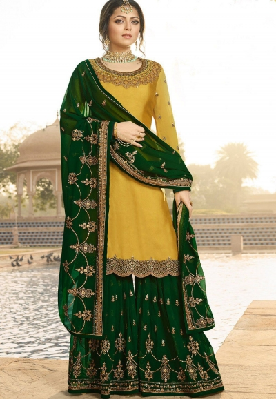 drashti dhami yellow green satin georgette embroidered sharara style suit 3608
