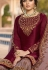 drashti dhami wine satin georgette embroidered sharara style suit 3606