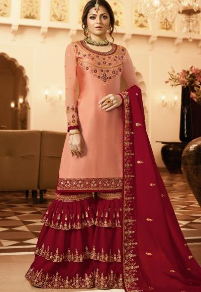drashti dhami peach dark pink satin georgette embroidered sharara style suit 3603
