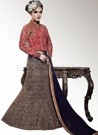 Maroon and blue Wedding wear