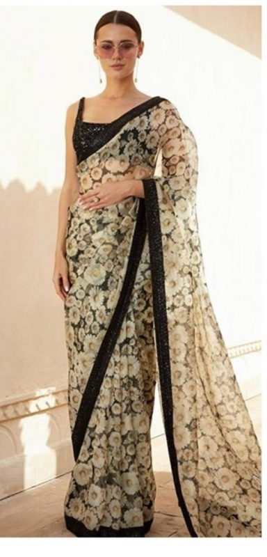 Bollywood Sabyasachi Inspired floral pure organza digital saree