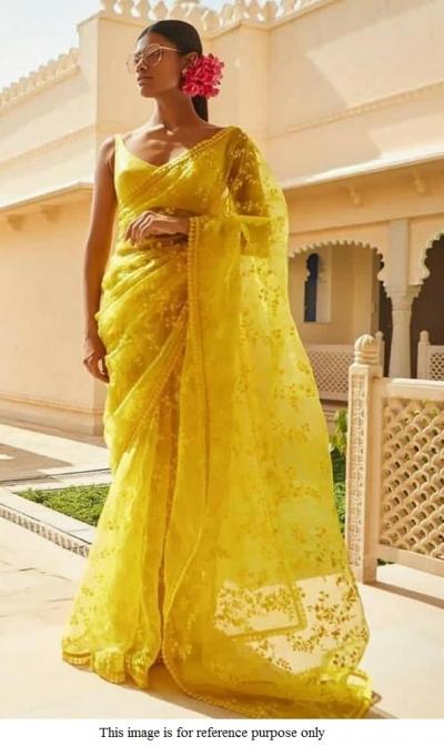 Jaune Bollywood Linen Silk Saree Indian Pakistani Designer Sari