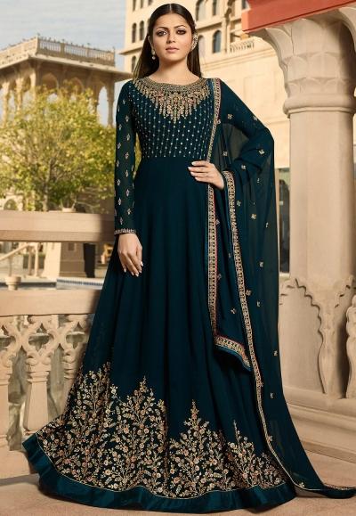 drashti dhami navy blue georgette embroidered floor length anarkali suit 3807