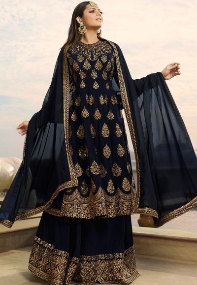 drashti dhami navy blue georgette embroidered lehenga style suit 3801
