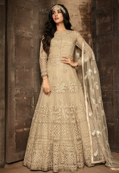 sonal chauhan beige net embroidered floor length anarkali suit 7201