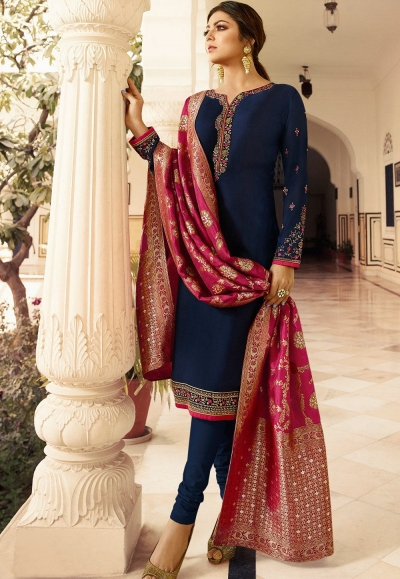 drashti dhami navy blue satin georgette straight churidar bollywood suit 4001