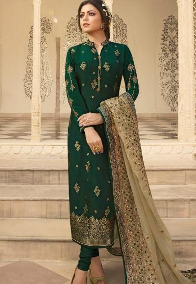 dark green jacquard embroidered straight churidar suit 3705